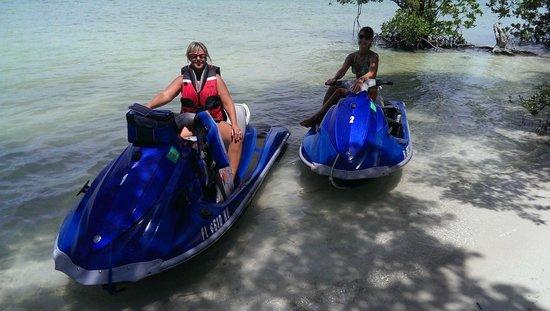 Florida Keys Jet Ski Rentals: Kim and Kat at Picnic Island