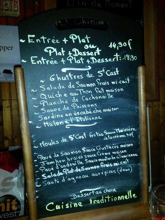 Le Bistro du Pot: Menu on a Sunday in August