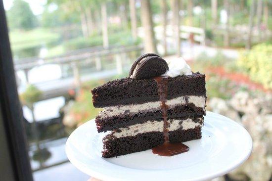 Cascade American Bistro: Oreo Ice Cream Cake: buttermilk fudge cake, layered crushed Oreo ice cream,