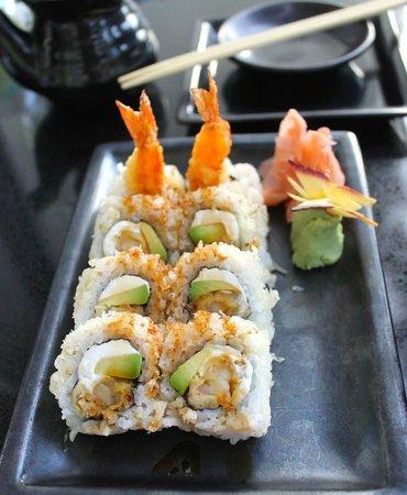 Cascade American Bistro: Shrimp Tempura Roll tempura crunch outside with cream cheese, avocado and shrimp tempura inside