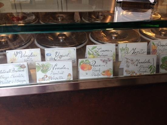 Gelateria della Passera: Just some of the interesting flavors available at La Passera