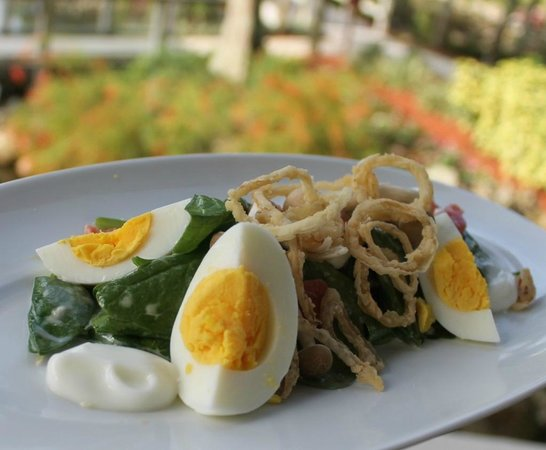 Cascade American Bistro: Wilted Spinach Salad/ crisp shallots, Coach Farm goat cheese, Dijon dressing