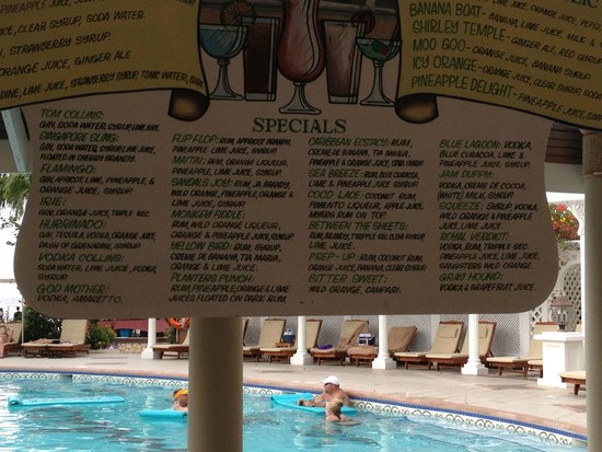Sandals Montego Bay: Poolside drink menu at Sandals Royal Caribbean