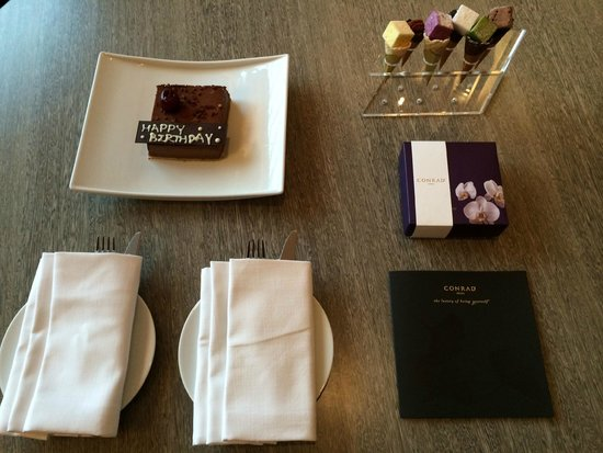 Conrad Seoul : Lovely birthday cake and card to go with it. Thank you