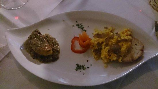 Ristorante La Vecchia Locanda : Bis di antipasto con polenta porcini e tartufo