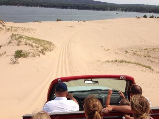 Mac Wood's Dune Rides : Down the dune towards Silver Lake.