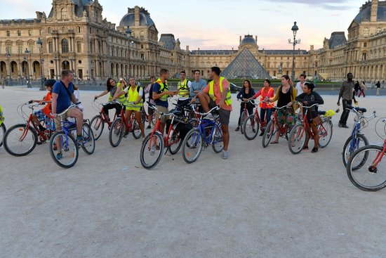Fat Tire Tours Paris: In the courtyard at the Louvre Museum