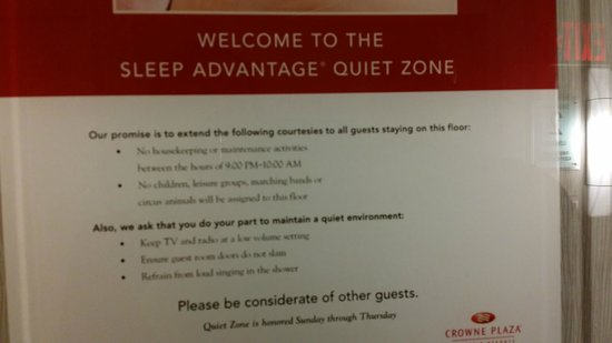 Crowne Plaza, Suffern: 3rd Floor - Quiet Zone....this was funny