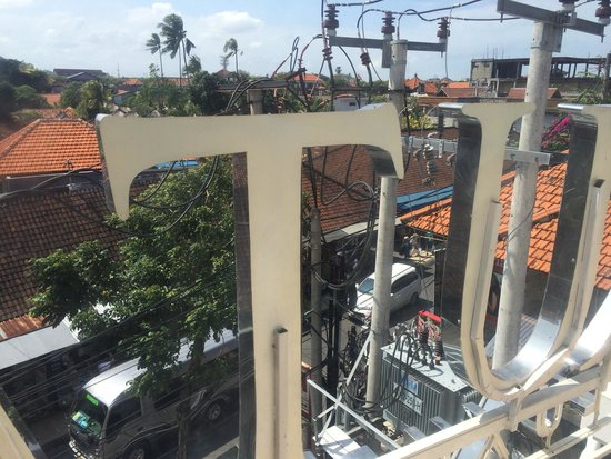 """Kuta Angel Hotel: View from room """"Love Me Long Time"""". Busy road but never noisy during our stay. Great soundproof"""