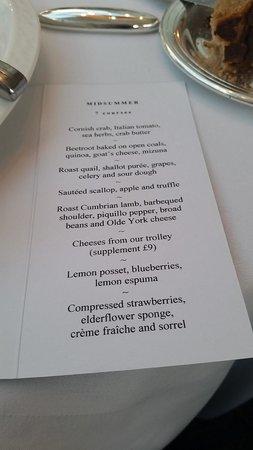 Midsummer House: 7 course menu