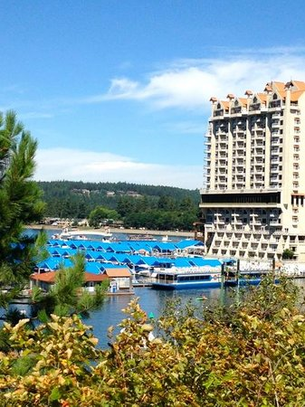The Coeur d'Alene Resort: View of resort from the walking trail.