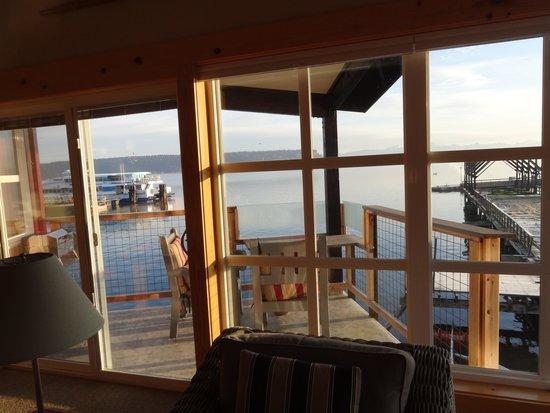 Boatyard Inn: View of deck from inside Driftwood 12