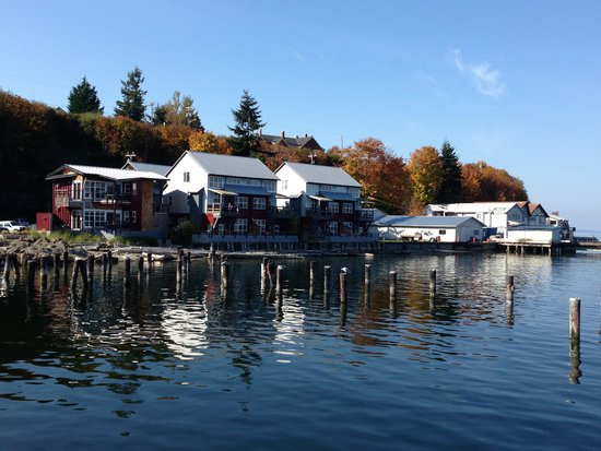 View of the Boatyard Inn from the marina
