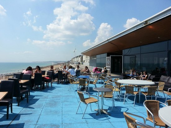 Azur at The Marina Pavilion: restaurant terrace from where you may not order food