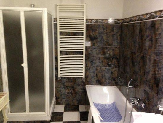 Soggiorno Antica Torre: A bathtub and a shower in the gold room