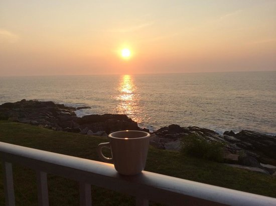 Cliff House Maine: morning coffee in my room