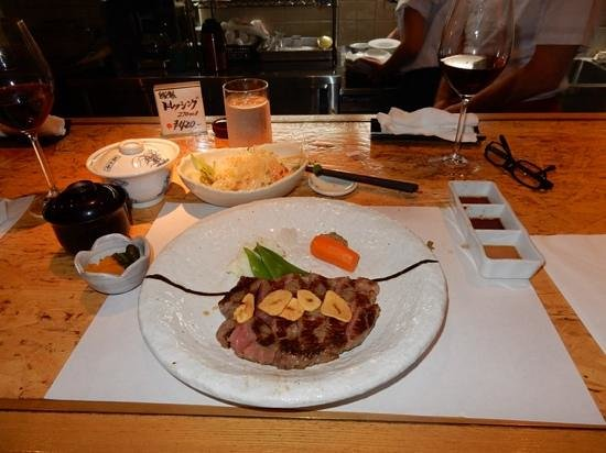 Hafuu Honten: The main event - Wagyu sirloin steak, with mash, miso soup, salad, rice, and pickles