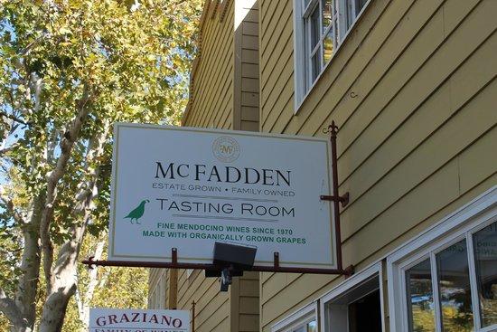 McFadden Farm Stand & Tasting Room: Sign outside McFadden Tasting Room in Hopland, California.