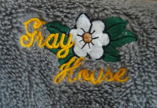 Gray House: B&B named-bath towels. Nice touch.
