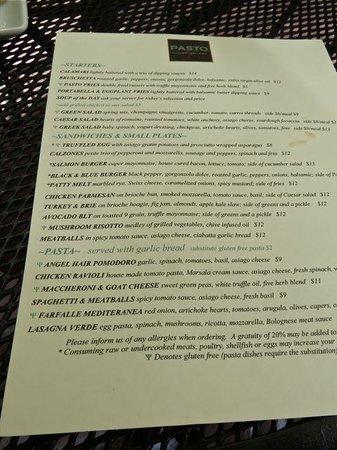 Pasto: Menu zoom in for prices and description