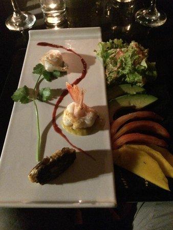 Mario's Cuisine: Beautifully plated sashimi, shrimp and fish cake.  Tastes just as good as it looks!