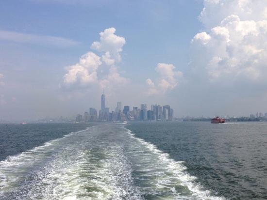 Photo of Manhattan skyline take from the Staten Island Ferry.