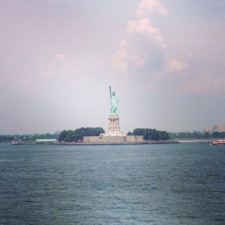 Photo of the Statue of Liberty taken from the Staten Island Ferry.