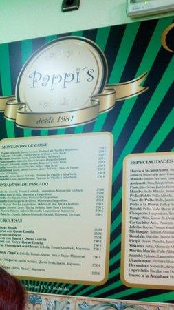 Bar Pappis: Panel con las tapas y montaditos.Bar Pappi´s