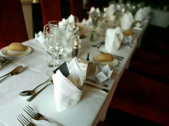 The Roebuck Hotel: The table laid for wedding breakfast