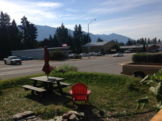 View from the front door of the Base Camp Cafe in Columbia Falls, MT