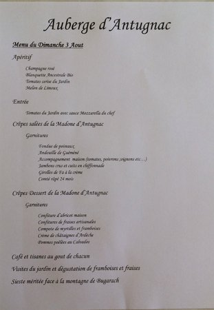 Antugnac, France: Le menu dominical (en saison)