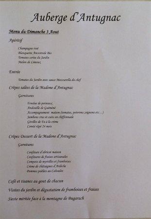 Antugnac, Prancis: Le menu dominical (en saison)