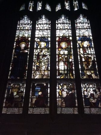Wakefield Cathedral: stained glass from the inside