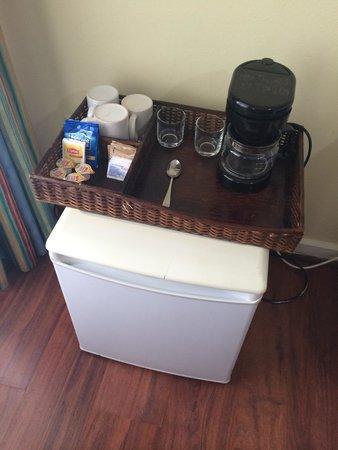 Coco Palm Resort: La chambre - mini bar, service thé/café, mini réfrigérateur.