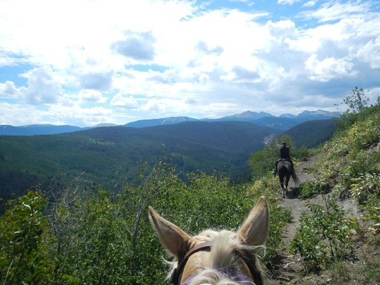 Bearcat Stables: Becky sharing colorado views and stories.
