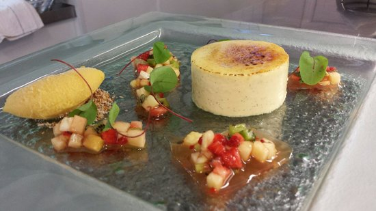 Coconut creme brulee passion fruit sorbet exotic fruit salad - Picture ...