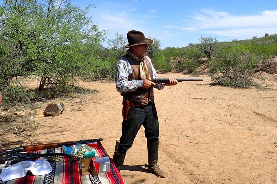 Tombstone Monument Ranch: Arizona Bill demonstrates a gun on our shooting activity
