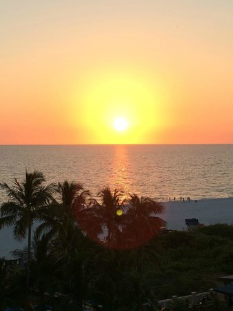Hilton Marco Island Beach Resort--CLOSED FOR RENOVATIONS; REOPENING DEC. 1, 2017: Sun getting ready to set - taken from our balcony