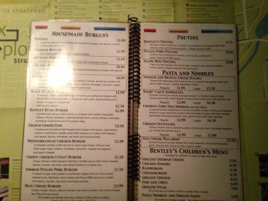 Bentley's Inn : Restaurant Menu