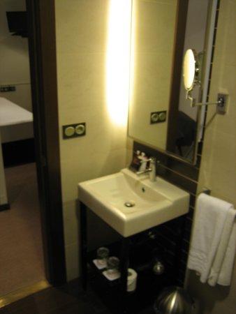 Room Mate Leo: lavabo y secador de mano debajo