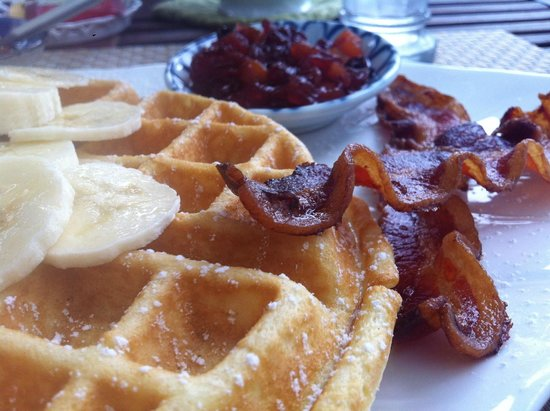 Brewster By The Sea: Amazing Waffles with Chutney and Top Grade Maple Syrup
