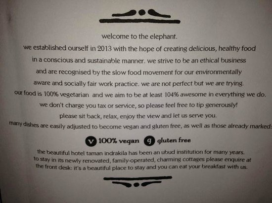 The Elephant Restaurant & Bar: menu