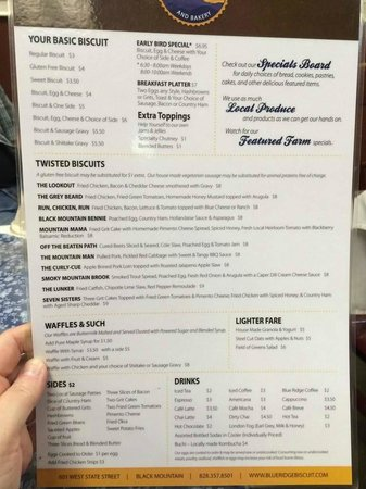 Blue Ridge Biscuit Company: The Menu