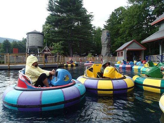 Clark's Trading Post and the White Mt. Central RR: bumper boats. wear a bathing suit or a rain coat!