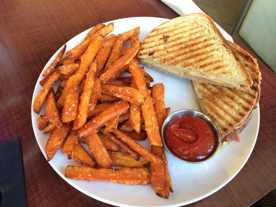 Living Room Theater: Prosciutto Apple Provolone Panini W/ Sweet Potato Fries