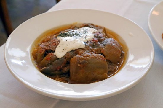 Chopahn Authentic Afghan Cuisine: Badenjan Challaw - lamb (rice, bread incl)