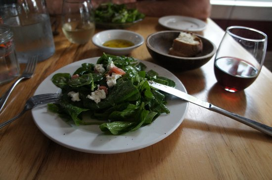 Peasant: Rhubarb and baby spinach salad