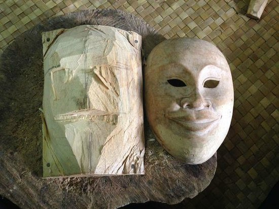 WS Art Studio: Our mask in process next to the sample