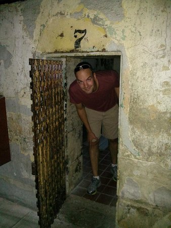 Missouri State Penitentiary: Stooping through the small cell entrance, designed to humiliate and discourage prisoners