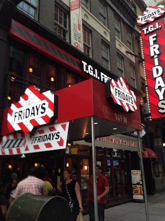 About TGI Friday's NYC New Years Eve. Times Square is home to one American favorite classic food chains, TGI Friday's. Located smack dab in the heart of New York City's urban mecca, this TGI Friday's location offers a welcome combination of urban excitement, family fun, and great food! Known for its dependable classics, TGI Friday's is the.